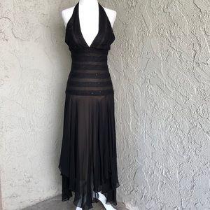 BCBG Black Lace Halter Cocktail Dress Sz 4